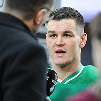 Jonathan Sexton (c) of Ireland is interviewed after the Guinness Six Nations match between England and Ireland at Twickenham Stadium on Sunday 23rd February 2020 (Photo by Rob Munro/Stewart Communications)