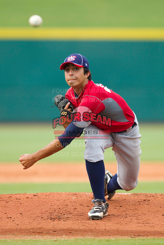 Team Red starting pitcher Daniel Camarena #44 in action against Team Blue during the USA Baseball 18U National Team Trials at the USA Baseball National Training Center on June 30, 2010, in Cary, North Carolina.  Photo by Brian Westerholt / Four Seam Images