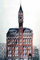 New York:  Tribune Building, elevation.  Rendering attributed to Richard Morris Hunt, 1873.  THE SKYSCRAPER,  Goldberger.  Photo '84.