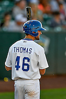 Cody Thomas (46) of the Ogden Raptors at bat against the Missoula Osprey in Pioneer League action at Lindquist Field on July 13, 2016 in Ogden, Utah. Ogden defeated Missoula 8-2. (Stephen Smith/Four Seam Images)