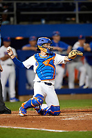 Florida Gators catcher JJ Schwarz (22) throws the ball back to the pitcher during a game against the Siena Saints on February 16, 2018 at Alfred A. McKethan Stadium in Gainesville, Florida.  Florida defeated Siena 7-1.  (Mike Janes/Four Seam Images)