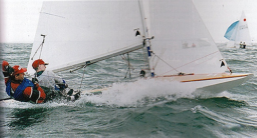 John Lavery and David O'Brien on their way to winning the 1995 International Fireball Worlds at the National Yacht Club for the National Yacht Club.