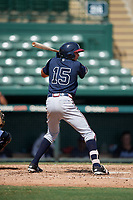 Atlanta Braves Jose Bermudez (15) at bat during an Instructional League game against the Baltimore Orioles on September 25, 2017 at Ed Smith Stadium in Sarasota, Florida.  (Mike Janes/Four Seam Images)