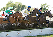Three tough cookies -- Left unsaid, left, Country Cousin, center, and Nationbuilder -- duel in the National Hnt Cup at Radnor.