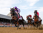 Mendelssohn leads first time by as Catholic Boy (no. 11) wins the Travers Stakes (Grade 1), Aug. 25, 2018 at the Saratoga Race Course, Saratoga Springs, NY.  Ridden by  Javier Castellano, and trained by Jonathan Thomas, Catholic Boy finished 4 lengths in front of Mendelssohn (No. 8).  (Bruce Dudek/Eclipse Sportswire)