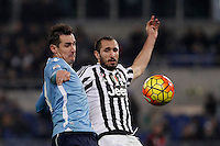 Calcio, Serie A: Lazio vs Juventus. Roma, stadio Olimpico, 4 dicembre 2015.<br /> Lazio's Miroslav Klose, left, and Juventus' Giorgio Chiellini fight for the ball during the Italian Serie A football match between Lazio and Juventus at Rome's Olympic stadium, 4 December 2015.<br /> UPDATE IMAGES PRESS/Isabella Bonotto