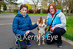Conor Galvin and Denise O'Connell walking Kerry the dog in the Tralee town park on Thursday.