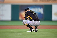 Bradenton Marauders starting pitcher James Marvel (12) takes a moment behind the mound during the second game of a doubleheader against the Lakeland Flying Tigers on April 11, 2018 at Publix Field at Joker Marchant Stadium in Lakeland, Florida.  Bradenton defeated Lakeland 1-0.  (Mike Janes/Four Seam Images)