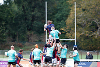 Alex Toolis of London Scottish wins the line out during the Championship Cup match between London Scottish Football Club and Nottingham Rugby at Richmond Athletic Ground, Richmond, United Kingdom on 28 September 2019. Photo by Carlton Myrie / PRiME Media Images