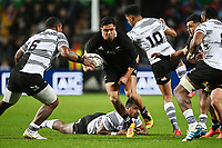 17th July 2021; Hamilton, New Zealand;  Anton Lienert-Brown runs into contact with Dyer of Fiji. All Blacks versus Fiji, Steinlager Series, international rugby union test match. FMG Stadium Waikato, Hamilton, New Zealand.