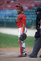 Ohio State Buckeyes catcher Jalen Washington (2) during a game against the Niagara University Purple Eagles on February 20, 2016 at Holman Stadium at Historic Dodgertown in Vero Beach, Florida.  Ohio State defeated Niagara 10-7.  (Mike Janes/Four Seam Images)