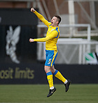 09.02.2020 BSC Glasgow v Hibs: Ross Smith celebrates his goal for BSC