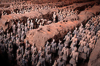 Overview of a vault in Qin Shihaungdi Museum # 1, containing an ancient Chinese terra cotta army formation. Xian, China.