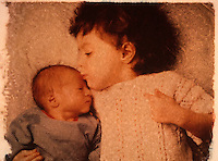 Three and One Half Year Old Girl Kissing her Newborn Baby Brother - Polaroid Transfer