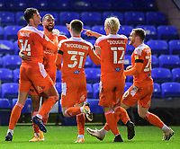 Blackpool's Gary Madine, left, celebrates scoring his side's second goal with team-mates, from left, CJ Hamilton, Ben Woodburn, Kenny Dougall and Oliver Turton<br /> <br /> Photographer Chris Vaughan/CameraSport<br /> <br /> The EFL Sky Bet League One - Peterborough United v Blackpool - Saturday 21st November 2020 - London Road Stadium - Peterborough<br /> <br /> World Copyright © 2020 CameraSport. All rights reserved. 43 Linden Ave. Countesthorpe. Leicester. England. LE8 5PG - Tel: +44 (0) 116 277 4147 - admin@camerasport.com - www.camerasport.com