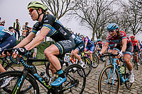 The Peloton coming through the Paddestraat during the 16th Ronde Van Vlaanderen. Alison Jackson<br /> <br /> Elite Womans Race (1.WWT)<br /> <br /> One day race from Oudenaarde to Oudenaarde<br /> ©Jojo Harper for Kramon