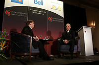 Montreal, CANADA, February 9, 2015,<br /> <br /> Jean-Guy Desjardins, Chairman of the Board & CEO of Fiera Capital Corporation is interviewed by Robert-Guy Scully (L), in front of the Canadian Club of Montreal,February 9, 2015.<br /> <br /> Photo : Agence Quebec Presse - Pierre Roussel