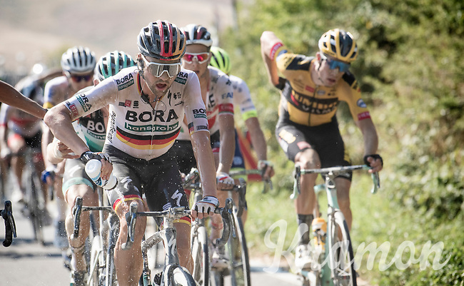 Maximilian Schachmann (DEU/Bora-Hansgrohe) cooling the legs mid-race in the excruciating heat<br /> <br /> 14th Strade Bianche 2020<br /> Siena > Siena: 184km (ITALY)<br /> <br /> delayed 2020 (summer!) edition because of the Covid19 pandemic > 1st post-Covid19 World Tour race after all races worldwide were cancelled in march 2020 by the UCI