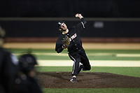 Louisville Cardinals relief pitcher Adam Elliott (4) in action against the Wake Forest Demon Deacons at David F. Couch Ballpark on March 6, 2020 in  Winston-Salem, North Carolina. The Cardinals defeated the Demon Deacons 4-1. (Brian Westerholt/Four Seam Images)