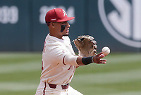 Arkansas infielder Jalen Battles (4) throws, Saturday, April 3, 2021 during the third inning of a baseball game at Baum-Walker Stadium in Fayetteville. Check out nwaonline.com/210404Daily/ for today's photo gallery. <br /> (NWA Democrat-Gazette/Charlie Kaijo)
