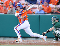 Catcher Spencer Kieboom (22) of the Clemson Tigers in a game against the University of Alabama-Birmingham on Feb. 17, 2012, at Doug Kingsmore Stadium in Clemson, South Carolina. UAB won 2-1. (Tom Priddy/Four Seam Images)