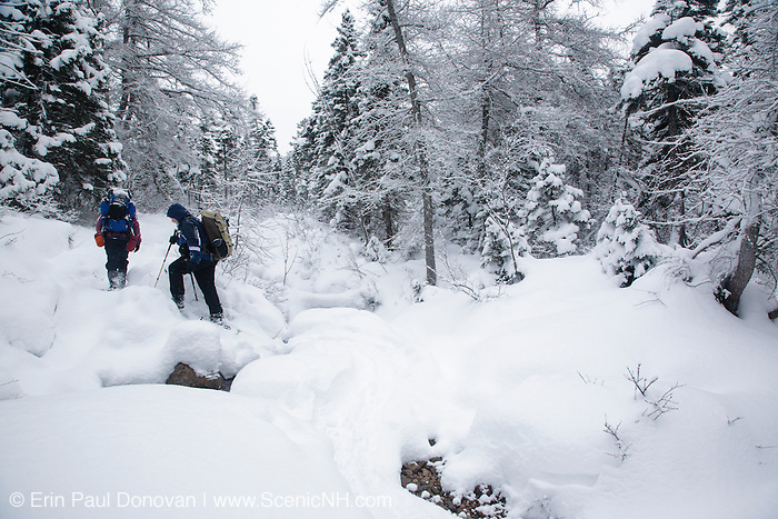 Two hikers cross the North Fork Hancock Brook during the winter months, which is located along the Cedar Brook Trail in Lincoln, New Hampshire USA