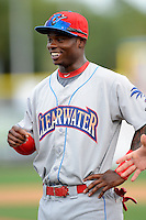 Clearwater Threshers outfielder Kyrell Hudson #13 during introductions before a game against the Dunedin Blue Jays at Florida Auto Exchange Stadium on April 4, 2013 in Dunedin, Florida.  Dunedin defeated Clearwater 4-2.  (Mike Janes/Four Seam Images)
