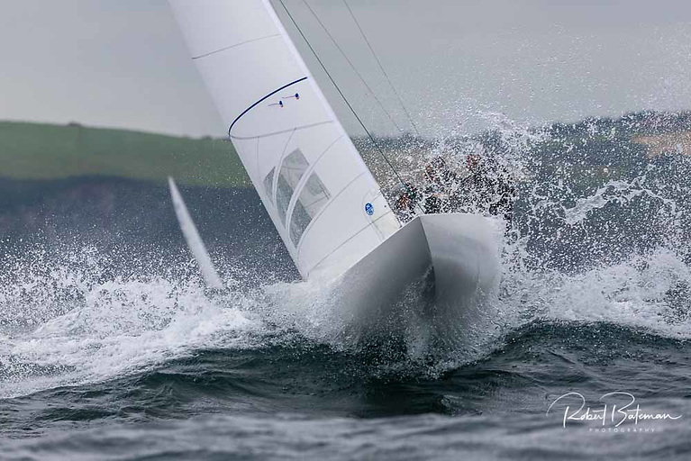 Big seas and strong winds for the first day of racing at the Dragon Nationals in Kinsale