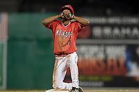 Batavia Muckdogs center fielder Brayan Hernandez (18) points skyward after sliding into second base during a game against the West Virginia Black Bears on July 3, 2018 at Dwyer Stadium in Batavia, New York.  Batavia defeated West Virginia 5-4.  (Mike Janes/Four Seam Images)