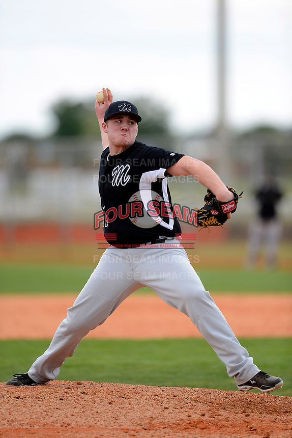 Muskingum Fighting Muskies pitcher Jeremy Jenkins #44 during a game against the Chicago State University Cougars at South County Regional Park on March 3, 2013 in Punta Gorda, Florida.  (Mike Janes/Four Seam Images)