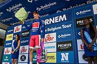 Podium with stage winner and also new leader in GC: Christophe Laporte (FRA/Cofidis)<br /> <br /> <br /> Baloise Belgium Tour 2018<br /> Stage 3: ITT Bornem - Bornem (10.6km)