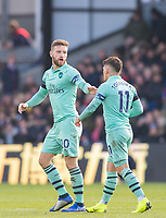 Arsenal's Shkodran Mustafi and Arsenal's Lucas Torreira  during the Premier League match between Crystal Palace and Arsenal at Selhurst Park, London, England on 28 October 2018. Photo by Andrew Aleksiejczuk / PRiME Media Images.