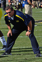 Michigan Head Coach Brady Hoke. The Michigan Wolverines defeated the Purdue Boilermakers 44-13 on October 6, 2012 at Ross-Ade Stadium in West Lafayette, Indiana.