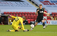 Ashley Maynard-Brewer of Charlton Athletic clears the ball during Charlton Athletic vs Plymouth Argyle, Emirates FA Cup Football at The Valley on 7th November 2020
