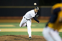Wake Forest Demon Deacons starting pitcher Donnie Sellers (1) delivers a pitch to the plate against the Kent State Golden Flashes in game two of a double-header at David F. Couch Ballpark on March 4, 2017 in Winston-Salem, North Carolina.  The Demon Deacons defeated the Golden Flashes 5-0.  (Brian Westerholt/Four Seam Images)