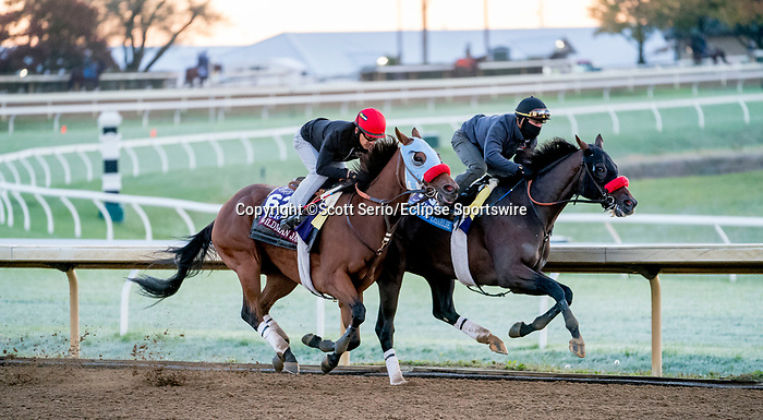 October 31, 2020: Hot Rod Charlie, trained by trainer Doug F. O'Neill, and Wildman Jack, trained by trainer Doug F. O'Neill, exercise in preparation for the Breeders' Cup at Keeneland Racetrack in Lexington, Kentucky on October 31, 2020. Scott Serio/Eclipse Sportswire/Breeders Cup/CSM