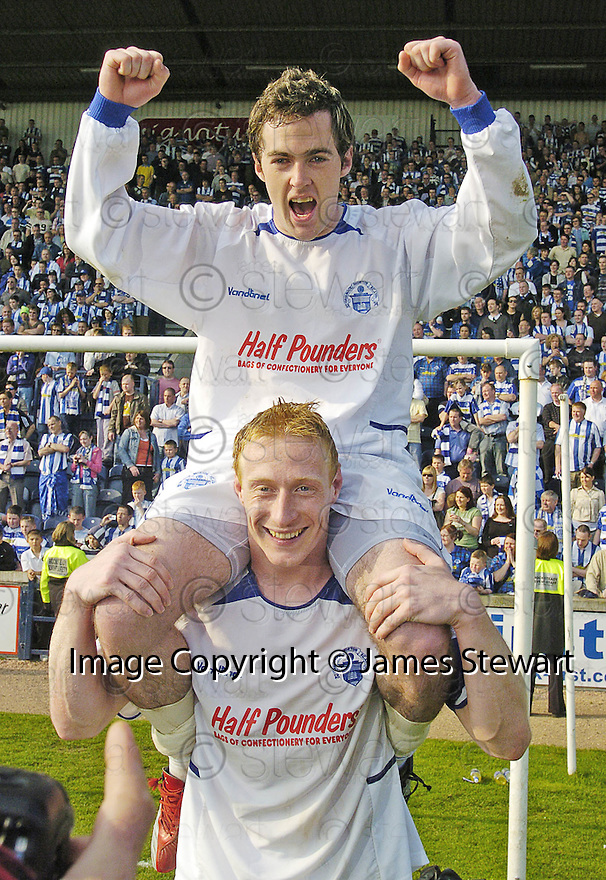 14/04/2007       Copyright Pic: James Stewart.File Name : sct_jspa13_raith_rovers_v_morton.MORTON'S JAMIE STEVENSON AND CAPTAIN STUART GREACEN CELEBRATE WINNING THE LEAGUE...James Stewart Photo Agency 19 Carronlea Drive, Falkirk. FK2 8DN      Vat Reg No. 607 6932 25.Office     : +44 (0)1324 570906     .Mobile   : +44 (0)7721 416997.Fax         : +44 (0)1324 570906.E-mail  :  jim@jspa.co.uk.If you require further information then contact Jim Stewart on any of the numbers above.........
