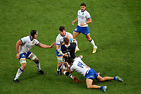 Marco Lazzaroni, Sebastian Negri and Jacopo Trulla of Italy block Duhan van der Merwe of Scotland during the rugby Autumn Nations Cup's match between Italy and Scotland at Stadio Artemio Franchi on November 14, 2020 in Florence, Italy. Photo Andrea Staccioli / Insidefoto