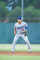 AZL Dodgers second baseman Marcus Chiu (14) on defense against the AZL Athletics on August 4, 2017 at Lew Wolff Training Complex in Mesa, Arizona. AZL Dodgers defeated the AZL Athletics 4-1. (Zachary Lucy/Four Seam Images)