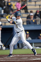 Michigan Wolverines catcher Joe Donovan (0) at bat against the San Jose State Spartans on March 27, 2019 in Game 1 of the NCAA baseball doubleheader at Ray Fisher Stadium in Ann Arbor, Michigan. Michigan defeated San Jose State 1-0. (Andrew Woolley/Four Seam Images)