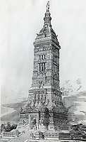 How The Washington Monument Might Have Looked: Design For The Monument Submitted In The 1870's 19th Century Artist Unknown