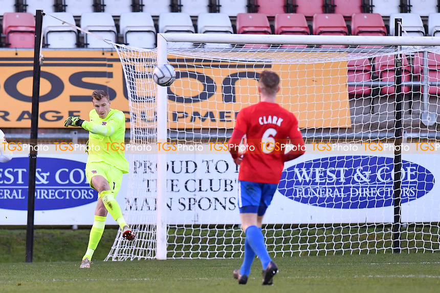 Elliot Justham of Dagenham and Redbridge FC during Dagenham & Redbridge vs Ebbsfleet United, Buildbase FA Trophy Football at the Chigwell Construction Stadium on 19th December 2020