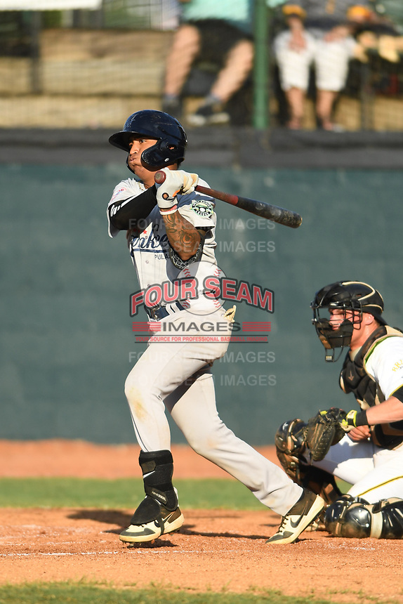 Pulaski Yankees Roberto Chirinos (17) follows through on his swing against the Bristol Pirates at Boyce Cox Field on July 8, 2019 in Bristol, Virginia. The Yankees defeated the Pirates 5-0. (Tracy Proffitt/Four Seam Images)