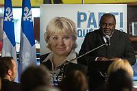 Maka Kotto<br />  present laa candidate pequiste Sophie Stanke, mars 2014.<br /> <br /> PHOTO : Agence Quebec Presse <br /> - Denis Germain
