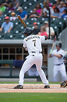 Tim Anderson (7) of the Charlotte Knights at bat against the Gwinnett Braves at BB&T BallPark on May 22, 2016 in Charlotte, North Carolina.  The Knights defeated the Braves 9-8 in 11 innings.  (Brian Westerholt/Four Seam Images)