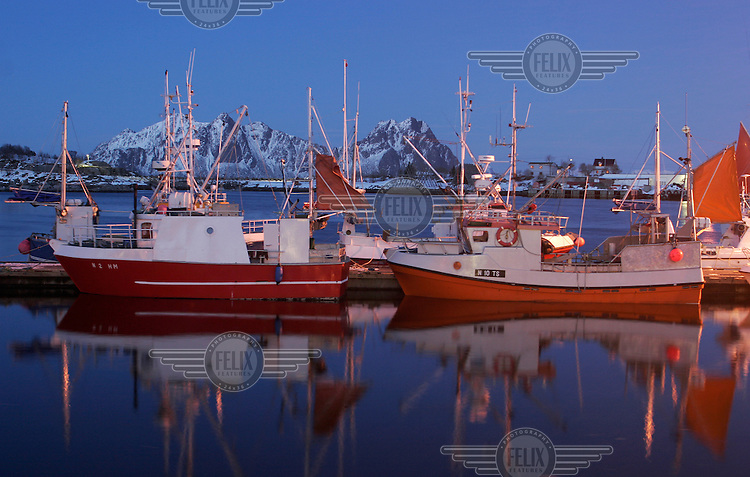 Fishing boats in the Svolvær harbour. Cod fishing is a traditional practice in Lofoten, home to around 24,500 people and and an area where locals have been producing Stockfish for over 1000 years. Lofoten is where the World's largest and last cod stocks are found, in the Barent's Sea. Fishing is as strong an industry as tourism in this region.