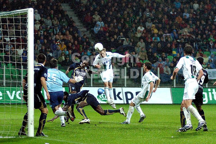 groningen - sparta  eredivisie seizoen 2007-2008 29-09- 2007 lindgren kopt raak maar afgekeurd *** Local Caption ***