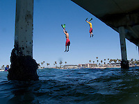 San Diego Junior Lifeguards Jump form OB Pier