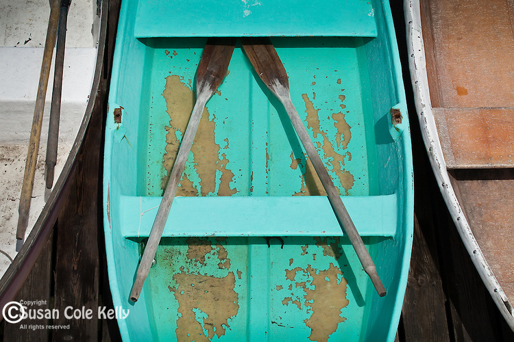 A rowboat in the fishing village of Corea, ME, USA