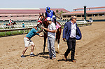 DEL MAR, CA  JULY 16: #8 Going to Vegas, ridden by Umberto Rispoli returns to the connections after winning the third race on July 16, 2021 at Del Mar Thoroughbred Club in Del Mar, Ca. (Photo by Casey Phillips/Eclipse Sportswire/CSM)